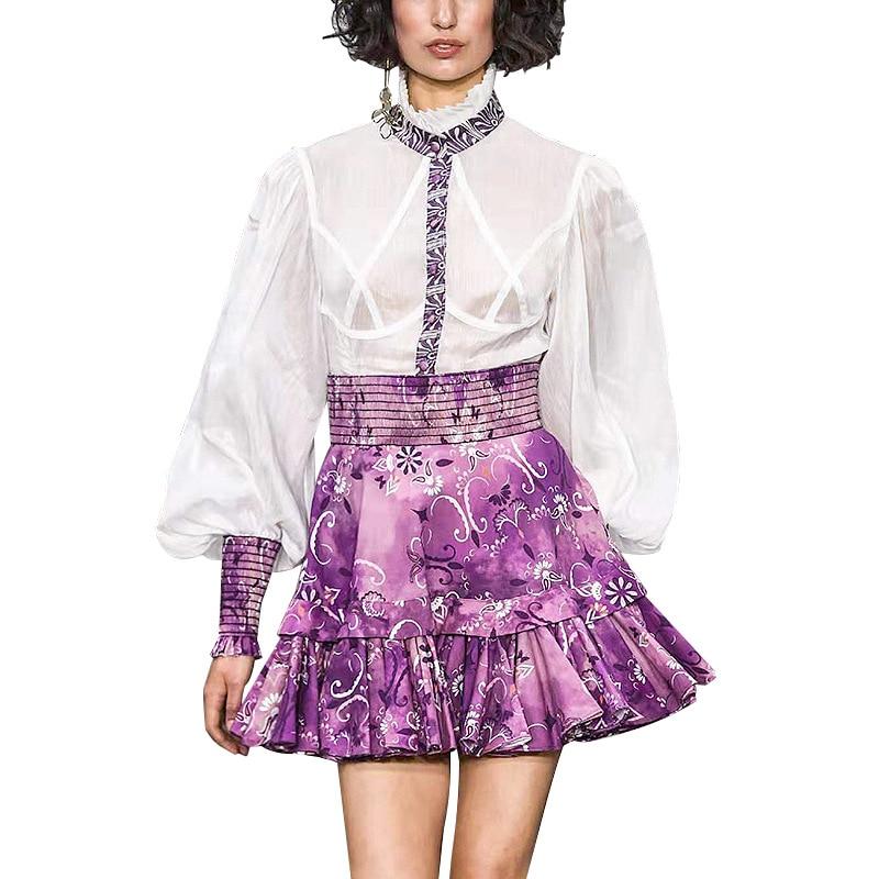 Autumn Dress 2019 New Vertical Collar Contrast Printing Waist Long Sleeve A Group Puff Sleeve Knee Length Print Dress Women in Dresses from Women 39 s Clothing