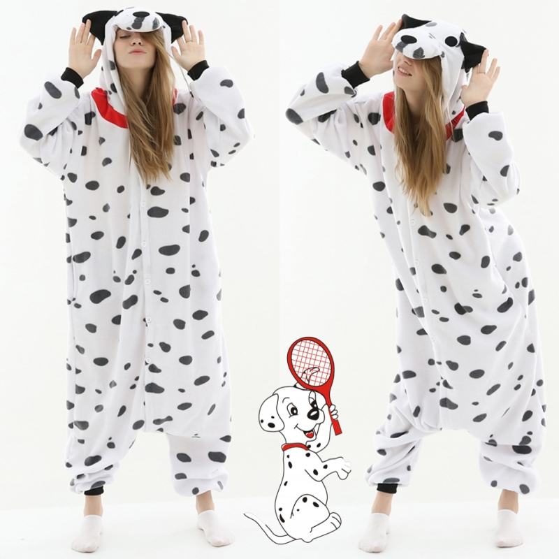 Dalmatians Cosplay Costume Kigurumi Adult Unisex Pajamas Jumpsuit Sleepwear Polar Fleece Onesies