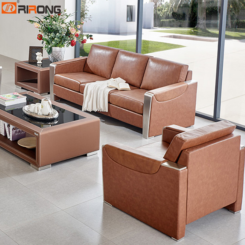 Brown Genuine Leather Luxury Office Living Room Sofa Set Coffee Table Set