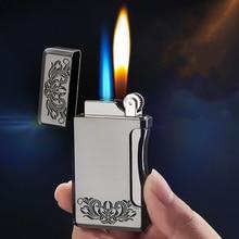 цена на New Metal Two Flame Jet Gas Lighter Grinding Torch Turbo Flint Lighter Free Fire Butane Windproof Cigarette Cigar Lighter