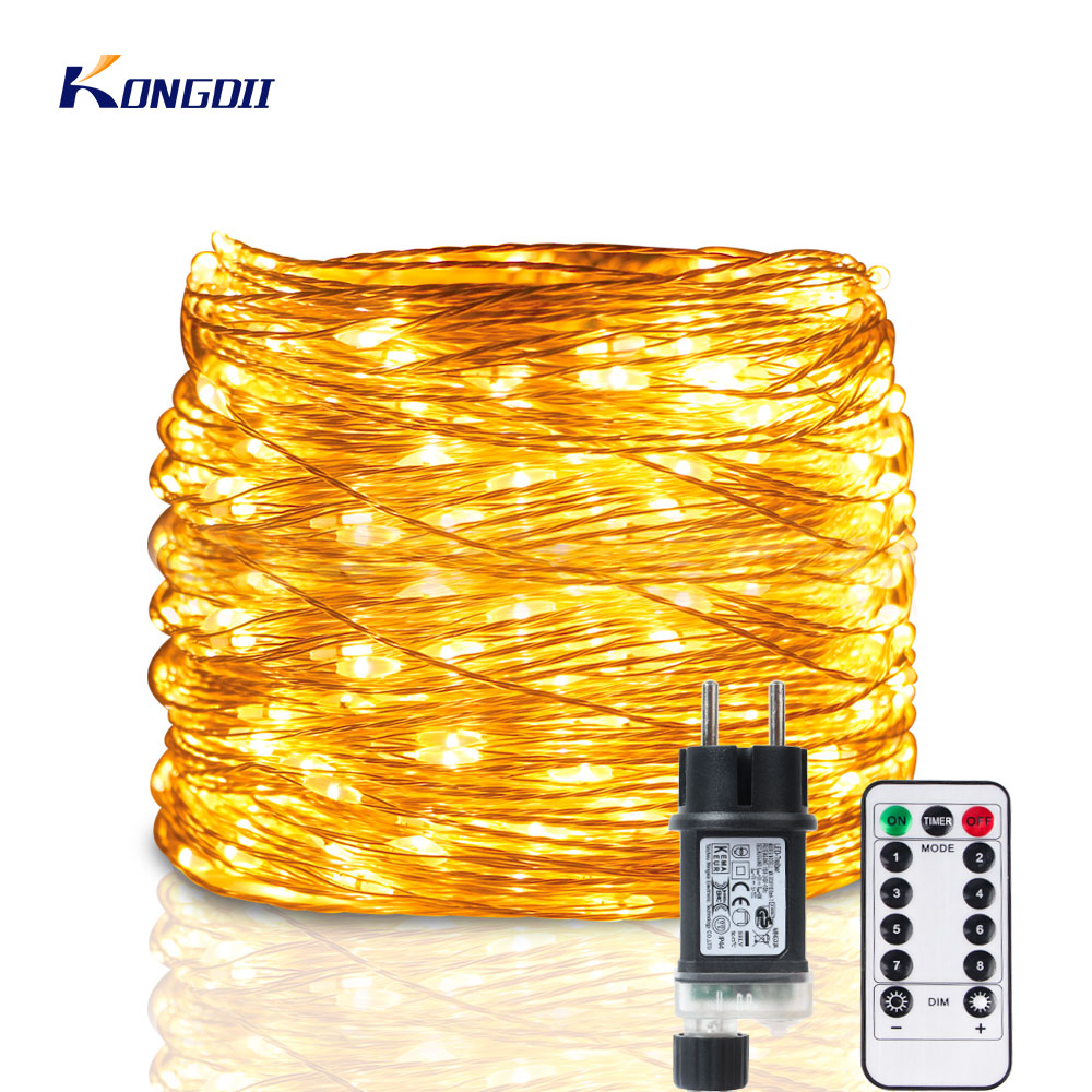 5M/100M LED String Lights Garland 30m 50m Street Fairy Lights Christmas Led Outdoor Remote For Patio Home Tree Wedding Decor