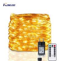 Guirnalda de luces LED de hadas para exteriores, luces de Navidad para Patio, jardín, hogar, decoración de árbol para boda, 5M-120M