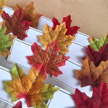 400 Uds. Hojas de arce de otoño a granel artificiales para la mesa de Acción de Gracias Puerta de otoño boda fiesta de cumpleaños Baby Shower decoraciones