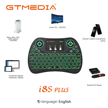 цена на 2.4G Wireless Keyboard I8S Plus Backlit Keyboard I8 Mini Air Mouse Touchpad English Remote Control for Android TV Box Laptop