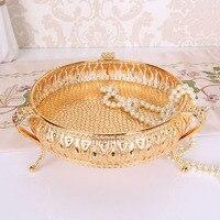20*20*10 см розовое золото поднос для фруктов свеча зеркальное стекло металлическая пластина с винтажным рисунком напитки дисплей поднос плат...