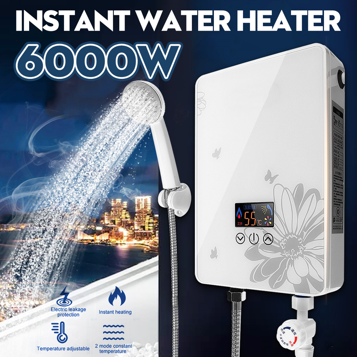 6000W Electric Water Heater Instant Heating Faucet LED Display Electric Hot Water Heater Leakage Protection Shower Home Kitchen