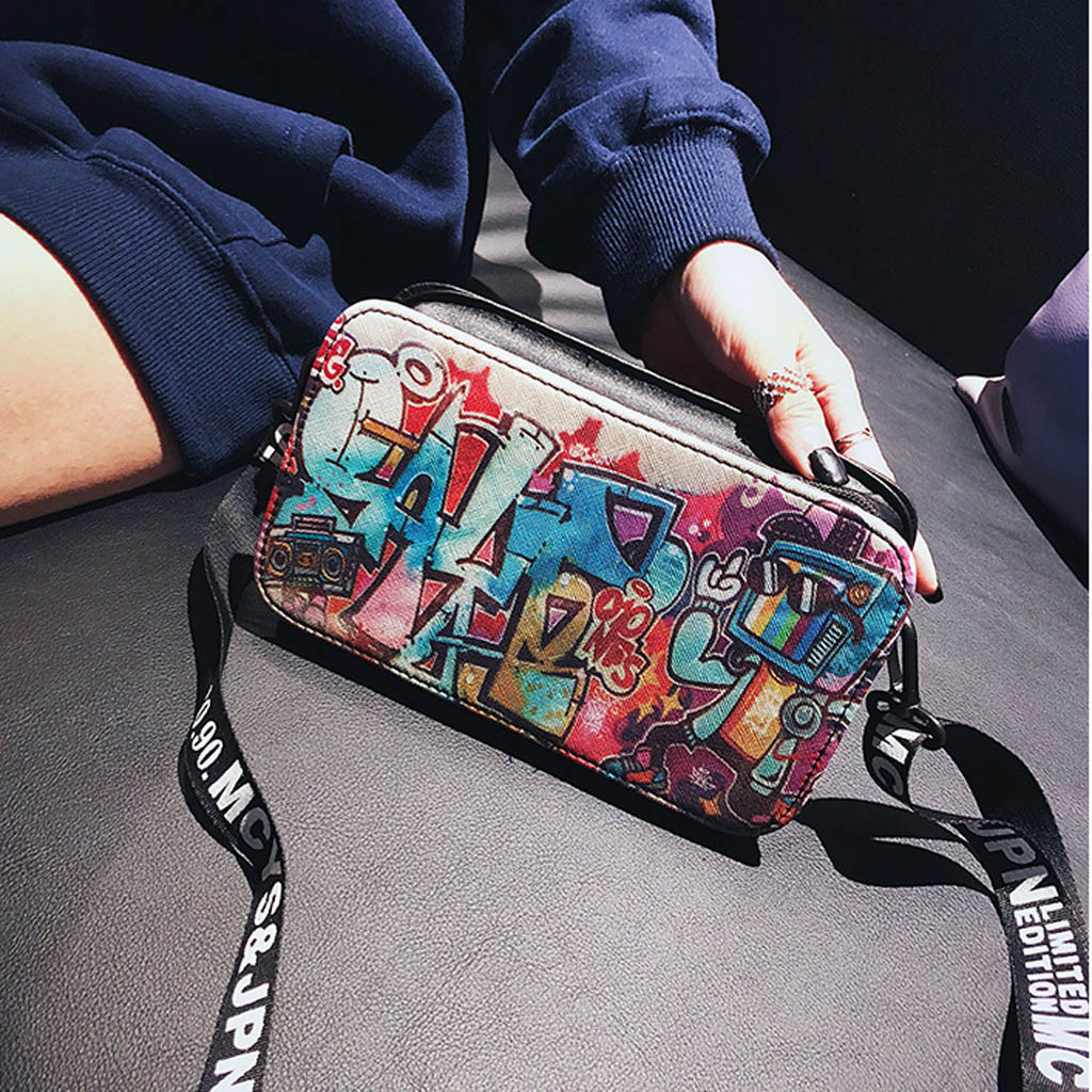 Small Bags For Women Sacs Femme 2019  Fashion Ladies Lleather Personality Graffiti Zipper Shoulder Bag Messenger Bag сумка#30