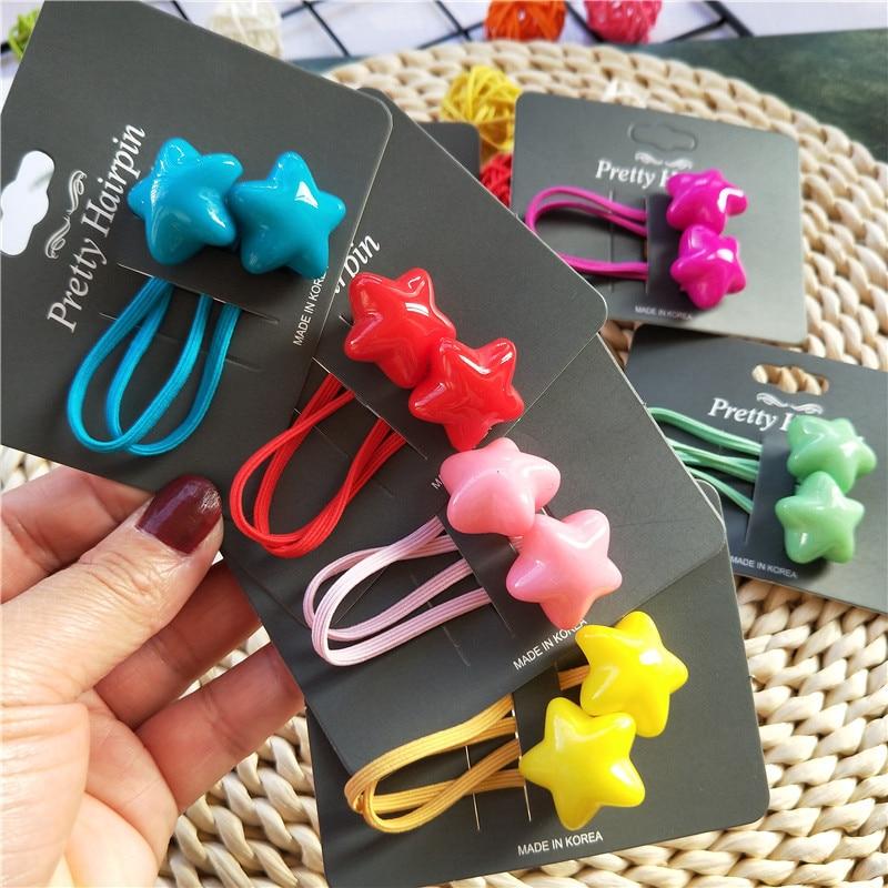1PCS Bubble Heart Candy Star Children Hair Ropes Elastic Rubber Hair Band Girls Hair Accessories Baby Headwear Kids Headdress
