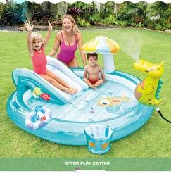 Надувные горки с зонтиком, детские игрушки-горки, Веселый семейный бассейн с распылителем воды, надувной бассейн для детей, игрушки