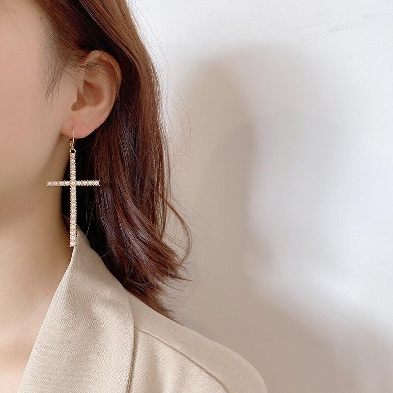 New Arrival Asymmetric Pearl Crystals Cross Drop Earrings for Women Fashion Bohemian Dangle Long Earrings Female Jewelry Brincos