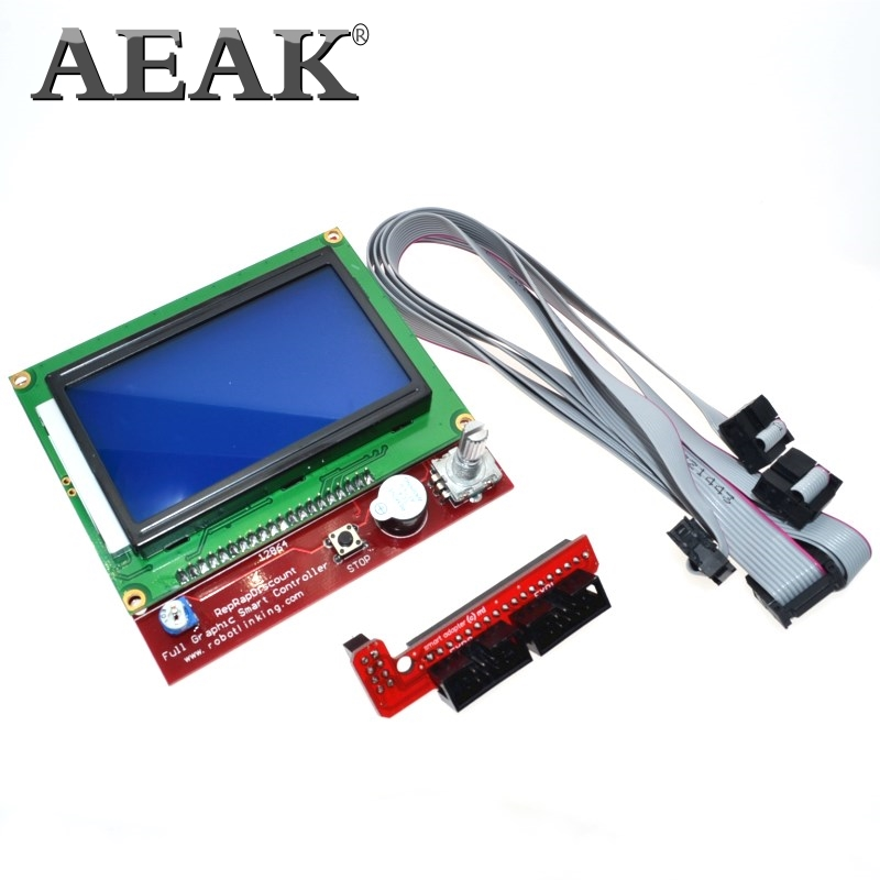 Aeak 3d impressora inteligente controlador rampas 1.4 lcd 12864 painel de controle lcd tela azul