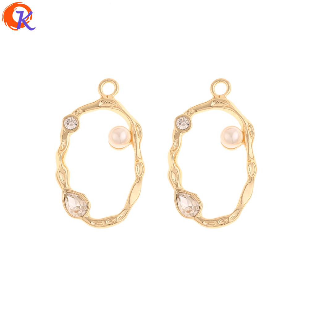 Cordial Design 50Pcs 19*33MM Jewelry Accessories/Hand Made/Rhinestone Earring Charms/Imitation Pearl/DIY Making/Earring Findings