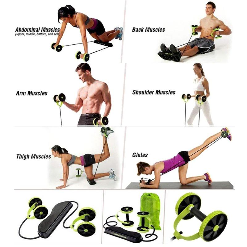 Display of men and women performing various exercises with Ab roller with resistance band Home Gym Kit - Trusted Gadget Store - Highly Reviewed Products That Provide Real Solution To Everyday Problems