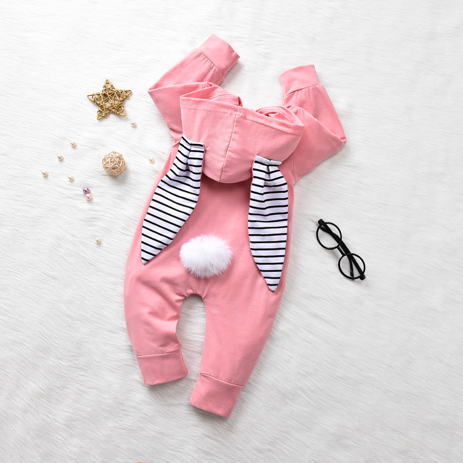0-24M Newborn Infant <font><b>Baby</b></font> Boy Girl Bunny Romper Long Sleeve Pom Pom Jumpsuit Easter <font><b>Baby</b></font> Costumes Autumn Spring <font><b>Clothes</b></font> image