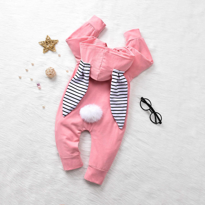 0-24M יילוד תינוקות תינוק ילד ילדה באני Romper ארוך שרוול פום פום סרבל פסחא תינוק תלבושות סתיו אביב בגדים