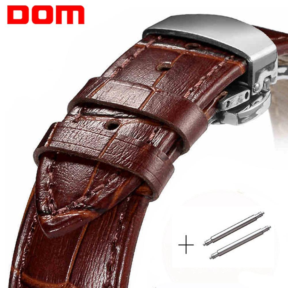 DOM Universal Watchband Butterfly Buckle Genuine Leather Watch Strap 18mm 20mm 22mm Watch Band For Watch Accessories Wristband