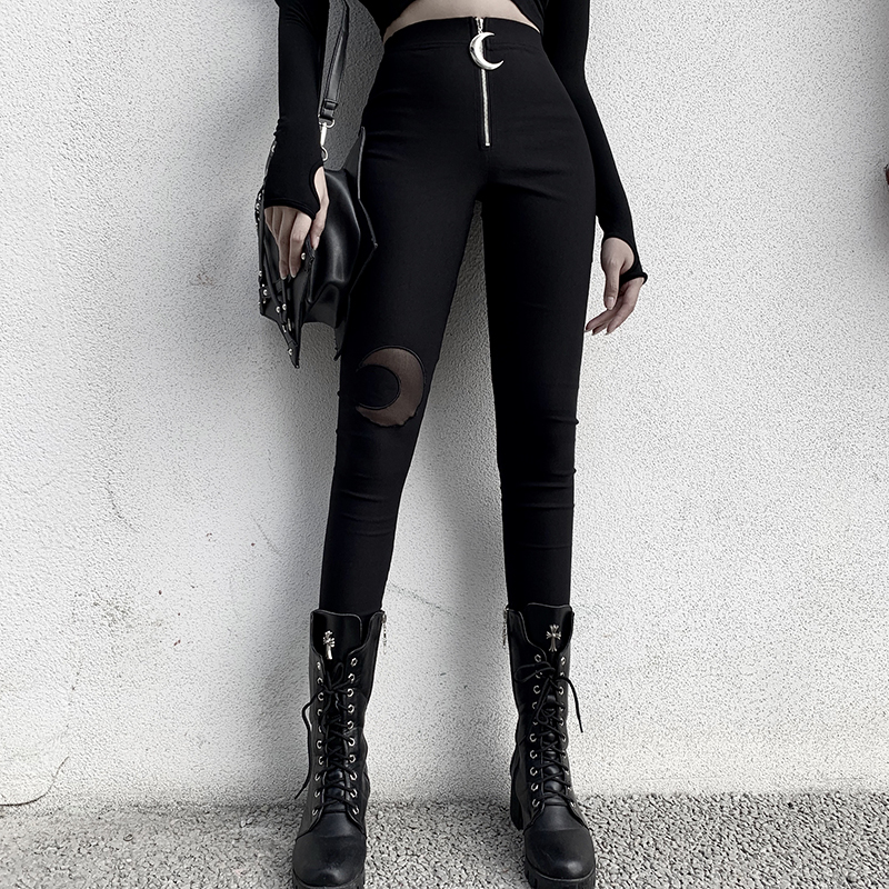InsGoth Black Pencil High Waist Pants Gothic Moon Zipper Hollow Out Bodycon Women Long Trousers Casual Streetwear Vintage Pants 1
