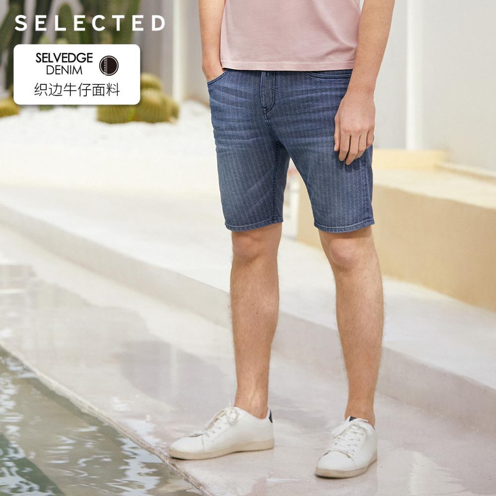SELECTED Men's Summer 100% Cotton Selvaged Knee-length Denim Shorts C|4192S3503