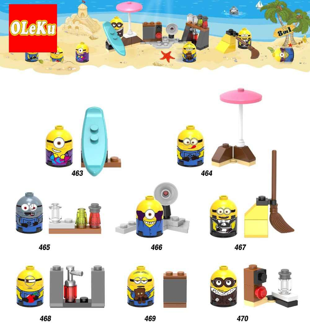 Singel Sale YELLOW MAN Despicable Me Cartoon Anime Movie Action Figures Building Blocks Children Gift Toys