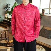 Traditional Chinese Blouse For Men Tang Suit Oriental Mens Clothing Satin Fabric Dragon Printed Long Sleeve Shirt Top