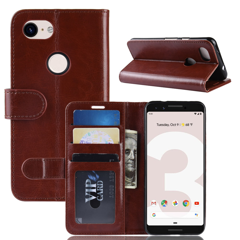 Pixel3a Case For Google Pixel 3A G020A G020B G020E Cover Wallet Card Stent Book Style Faux Leather Flip Protect Black Google3a