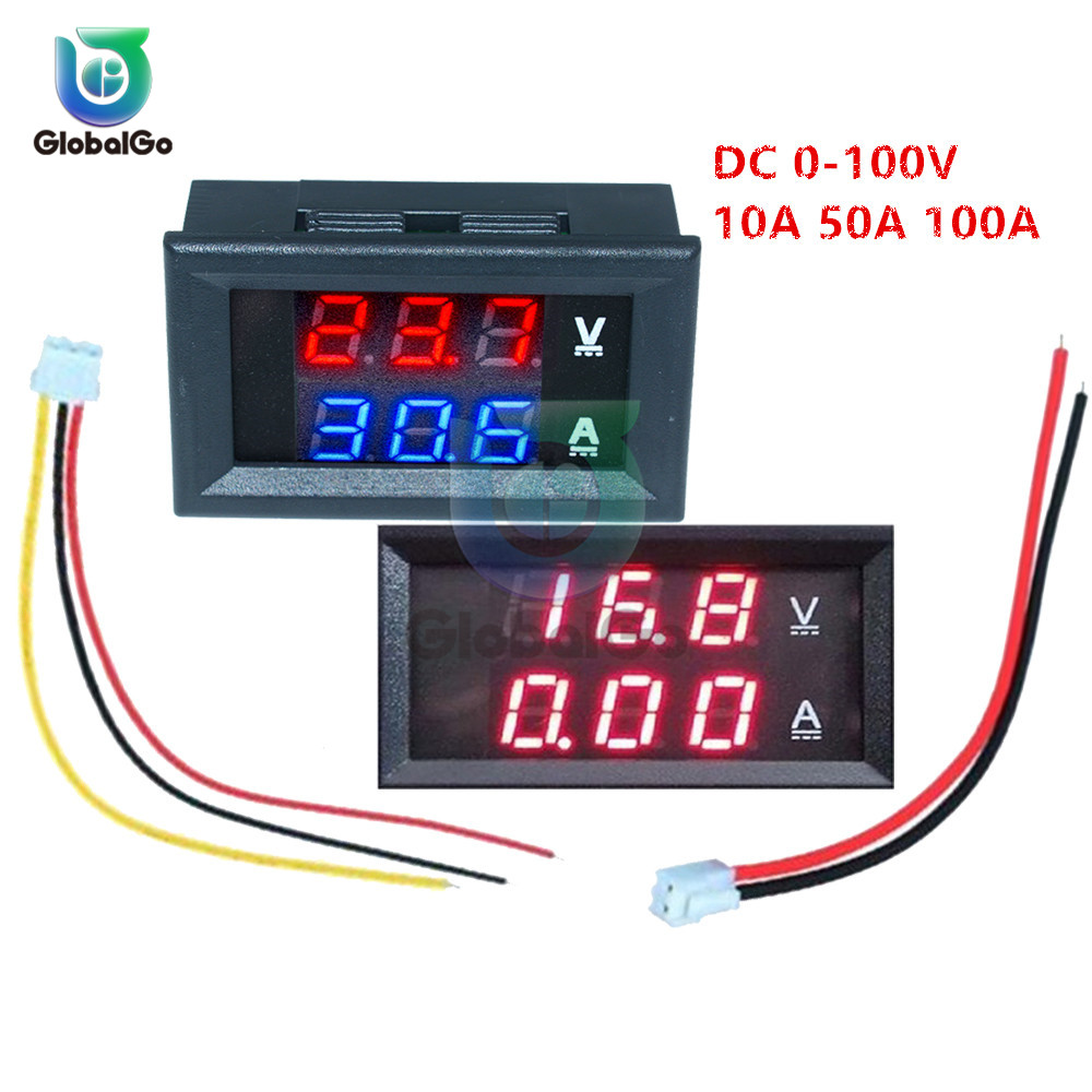 Digital Car Voltmeter Ammeter Motorcycle Voltage Indicator Tester Current Meter Tester 12V 2pin 3pin Cable DC100V 10A 50A 100A