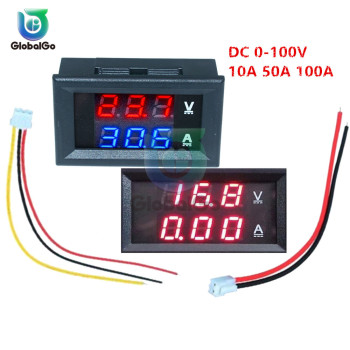Digital Car Voltmeter Ammeter Motorcycle Voltage Indicator Tester Current Meter Tester 12V 2pin 3pin Cable DC100V 10A 50A 100A multimeter ammeter voltmeter wattmeter ac 80 260v 0 100a lcd digital display current voltage power energy meter