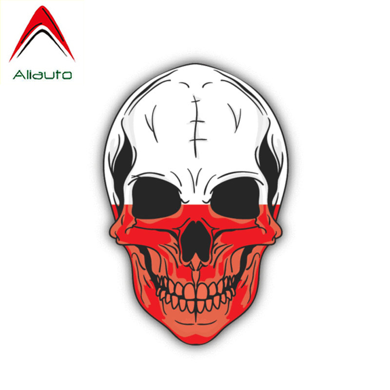 Aliauto Personality Car <font><b>Sticker</b></font> Skull Poland Flag Auto Accessories PVC Decal Cover Scratch for Chevrolet Subaru <font><b>Golf</b></font> <font><b>4</b></font>,12cm*8cm image