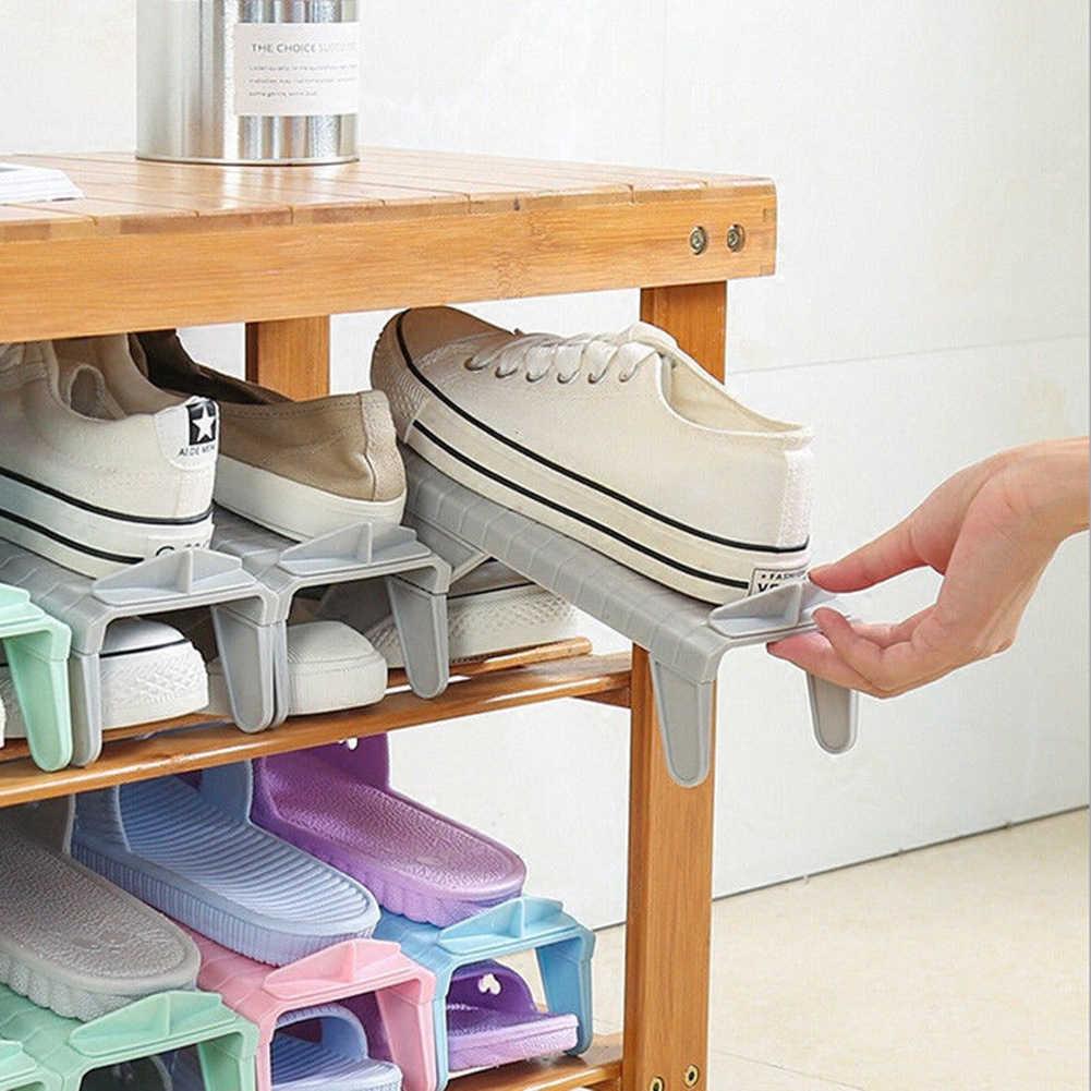 Casa ajustável sapatos base de exibição espaço saver organizador armazenamento cabide prateleira armazenamento casa & organização
