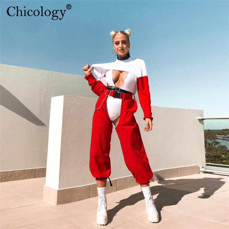 Chicology red buckle belt open-crotch long split pants high waist female trousers 2019 autumn winter women streetwear clothes