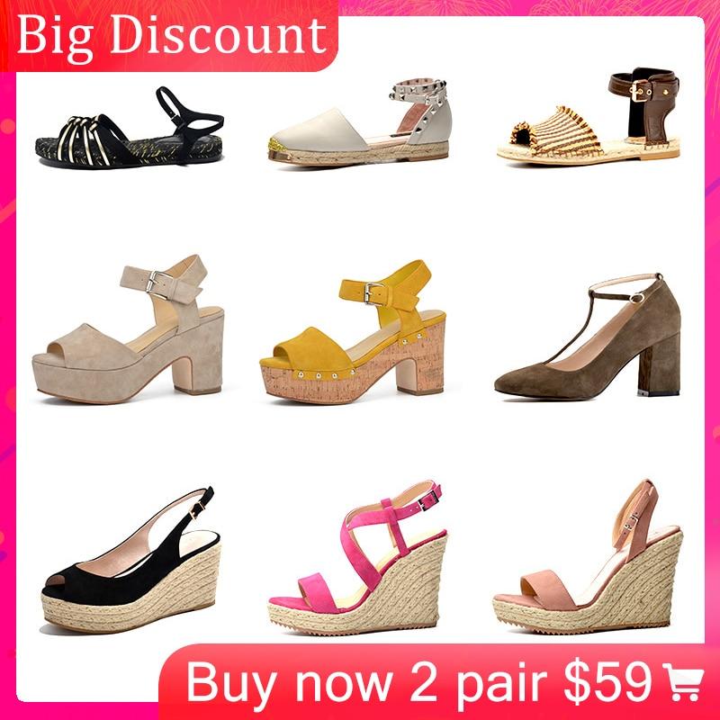 Donna-in Clearance Summer Hot Sale Women Platform Wedge Sandals High Heel Genuine Leather Handmade Flat Sandals Women Shoes 2019