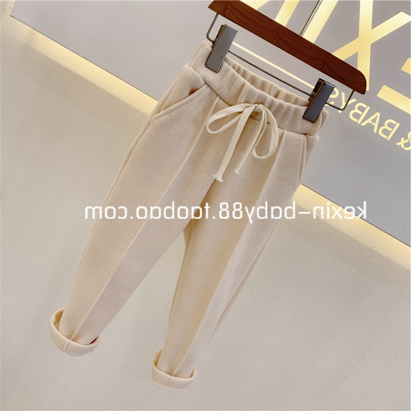 Baby Girls Pants Knitted Elastic Casual Pants Spring Autumn Children's Wear 2021 Casual Clothes Trousers Girl Solid Full Length 3
