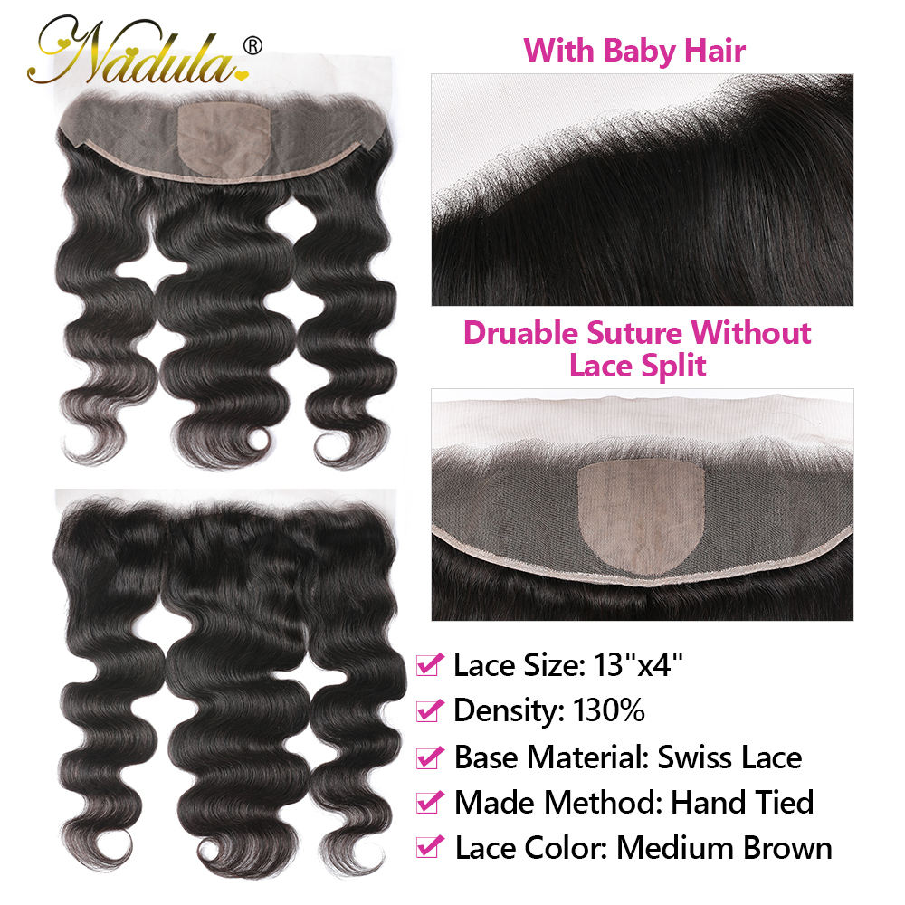 Nadula Hair  Body Wave Hair With 13x4 Lace Frontal Closure 3 Bundles With Frontal 100%  s  Hair 4
