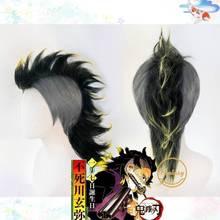 أنيمي شيطان القاتل كيميتسو لا Yaiba Shinazugawa سانمي شعر مستعار تأثيري هالوين الشعر + غطاء شعر مستعار مجاني