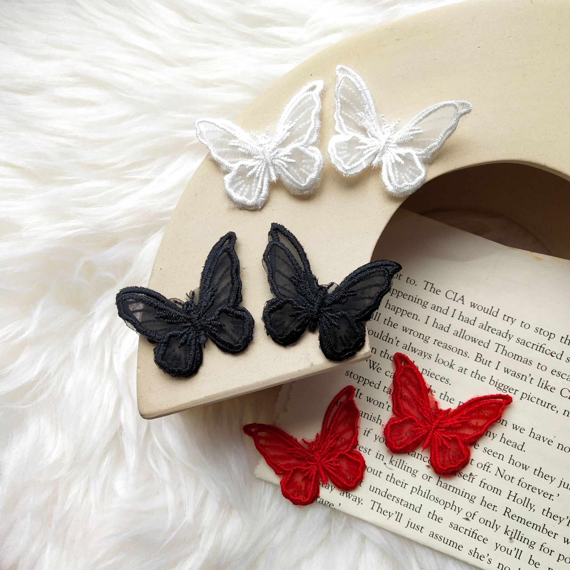 Butterfly Earrings 2020 Trendy Jewelry Retro Double Layer Embroidery Organza Embroidery Three-dimensional Lace Butterfly Earring