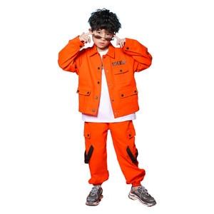 Image 5 - Caz Kostümleri Turuncu Takım Uzun Kollu Ceket Pantolon Erkek Sokak Dans Elbise Hip Hop Dans Seti Sahne Giyim Çocuklar