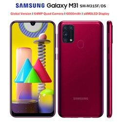 Смартфон Samsung Galaxy M31 M315F/DSN, глобальная версия, мобильный телефон, 6 ГБ 128 ГБ, Восьмиядерный процессор, 6,4 дюйма, 1080x2340P, 6000 мАч, 48 МП, NFC, Android 10