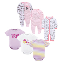 6 PCS/lot newborn baby bodysuits set short sleevele baby clothes O-neck 0-12M baby Jumpsuit 100%Cotton baby clothing Infant sets цены