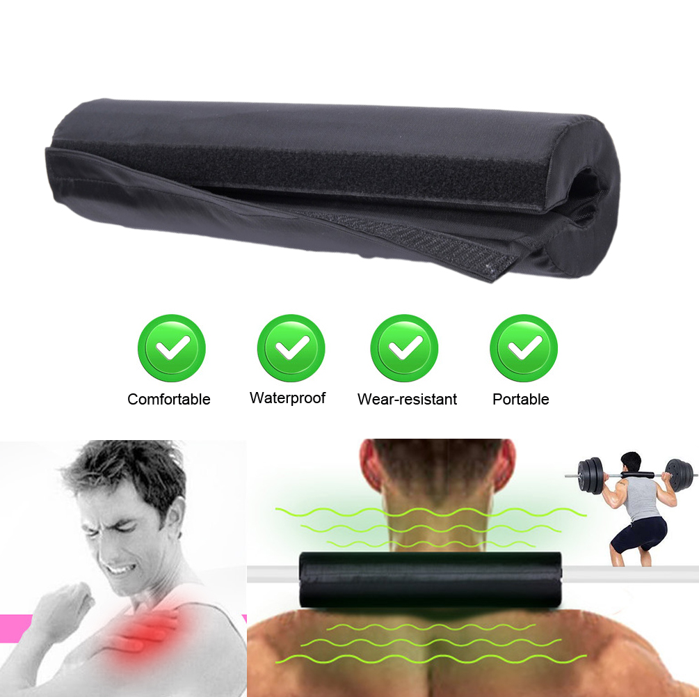 Barbell Pad Squat Weight Lifting Foam Neck Shoulder Protector Black Oxford Cloth High Elastic Foam Barbell Pad Fitness