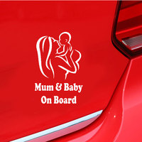 Mum Baby on Board Car Vehicle Body Window Reflective Decals Sticker Decoration Automobiles Decal Car styling 2