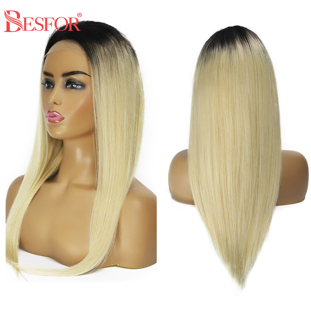 BESFOR 4*4 Lace Closure Front Human Hair Wigs Ombre Color Blonde 1B613 With Dark Roots Free Part Remy Long Straight Hair Wig