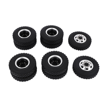 Front Rear Rubber Low Loader Wheels with Aluminum Rims for Tamiya 1/14 Scale Tractor