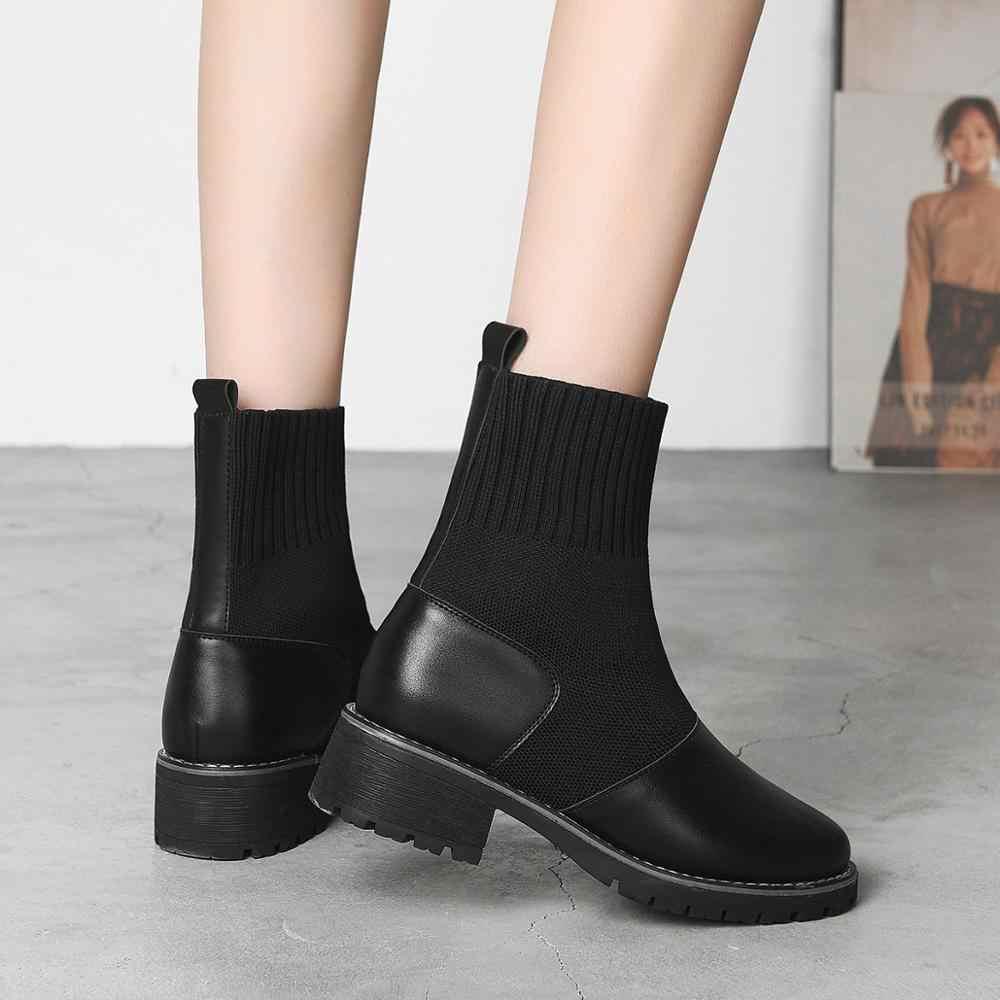 2019 kadın çorap botları sonbahar ve kış yeni su geçirmez botlar deri kadın streç ince botları vahşi Botin Mujer büyük boy