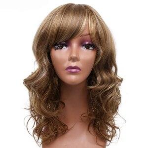Image 4 - アミールブロンドカーリー合成かつら送料無料でサイド前髪ミディアムの長さ耐熱ファイバーコスプレウィッグアフリカアメリカの女性