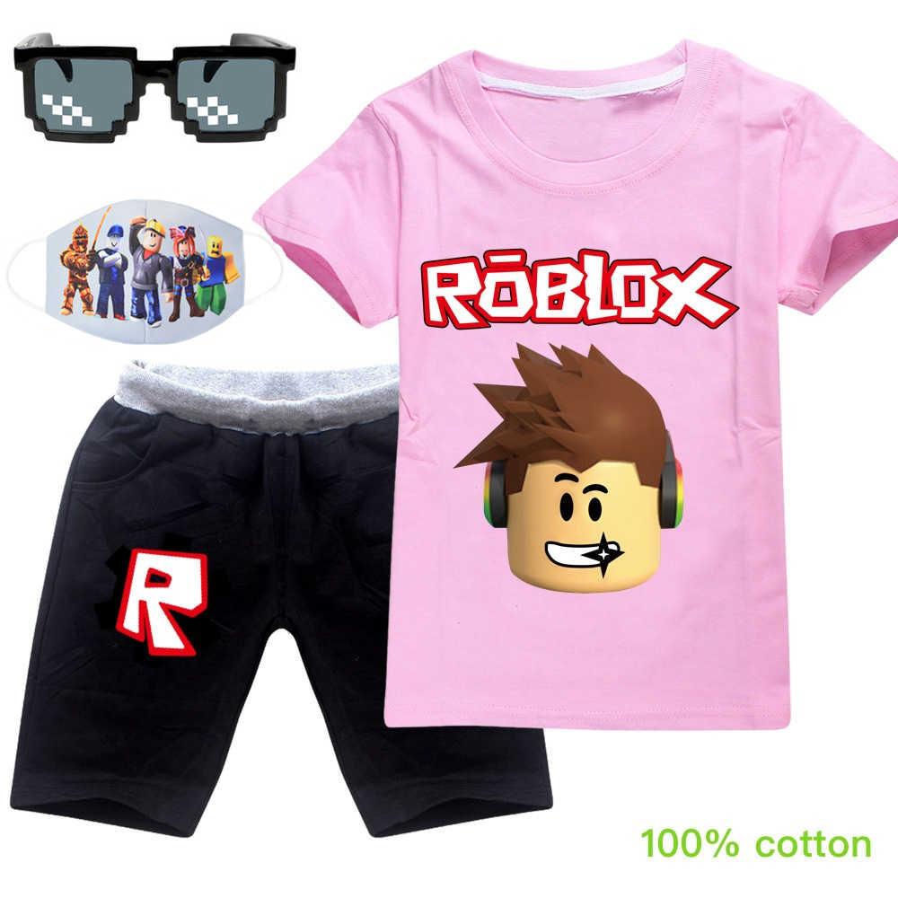 ROBLOX 여름 코 튼 t-셔츠 + 짧은 바지 2020 아기 소년 소녀 코 튼 의류 세트 의류 세트 의상 스포츠웨어