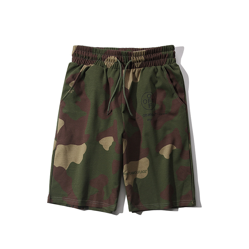 2019 New Style Europe And America Popular Brand Off White Series With Numbers Qualified Camouflage Shorts Students Couples-Style