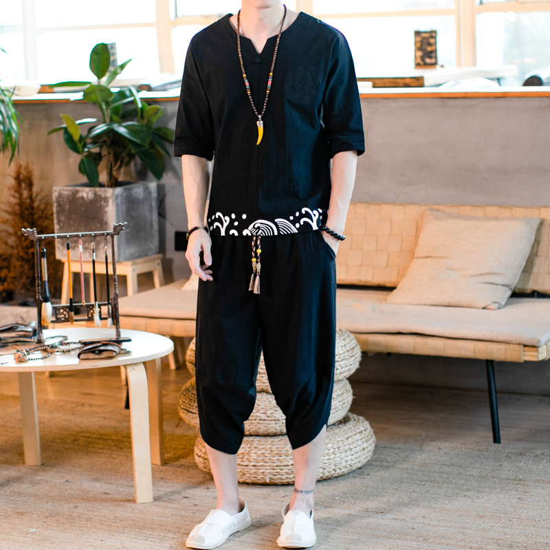 Summer Men Chinese Costume T-shirt Thin Chinese-style Chinese Clothing Linen Shorts Set Large Size Loose Short Sleeve Two-Piece