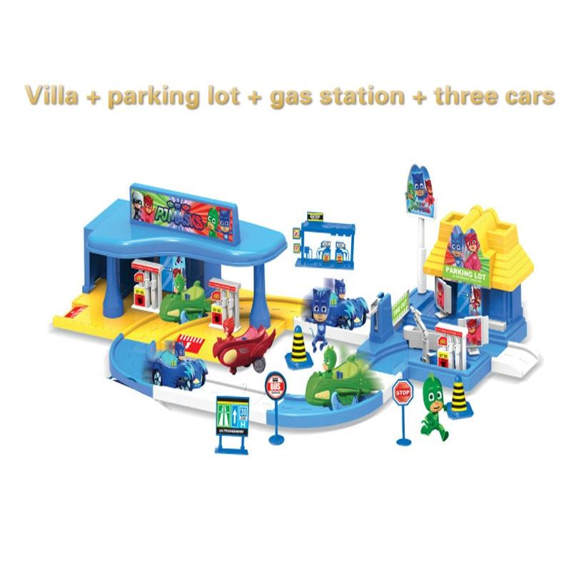 Pj masque 1 Villa 3 voitures 1gas station 3 poupées modèle Catboy Owlette Gekko figure masques ensemble assembler jouet jeux pour enfants gift2B19
