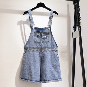 Plus Size 6XL Casual Blue Short Jeans Jumpsuit Rompers Womens Sleeveless Overalls Clothes Female High Waist Short Playsuits pinkwin blue 6xl