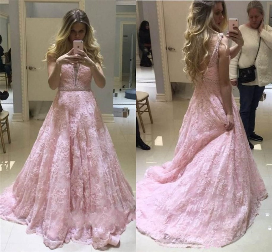 H Evening Gowns For Women Arabic Pink Lace Appliques V Neck Beaded Pearls Sashes Charming Tulle Custom Made Vestido Largo Noche